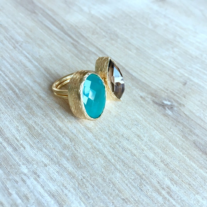 multi stone ring two stone couples ring gemstone 2 stone ring for mom for her his her birthstone jewelry smoky quartz green quartz