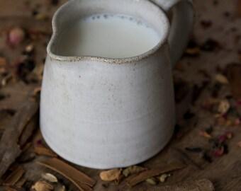 Creamer, Ceramic Milk Pitcher, Pottery White Pitcher, Tea Accessories Gift, Syrup Pitcher, Coffee Creamer, Tabletop, Stoneware Jug