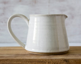 Creamer, Ceramic Milk Pitcher, Pottery White Pitcher, Tea Accessories Gift, Syrup Pitcher, Coffee Creamer, Tabletop, White Gift for Mom