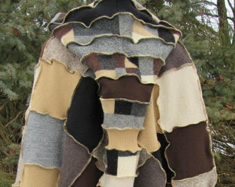 Wool Poncho With Hood & Matching Arm Warmers, Cosplay, Shawl, Cape, Hippie, Boho, Recycled Sweaters, Poncho, Pixie, Wizard, Eco, Plus Size