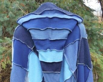 Italian Merino Wool Poncho With Hood & Matching Arm Warmer, Cosplay, Shawl, Hippie, Boho, Recycled Sweaters, Poncho, Pixie, Wizard, Blue