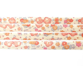 Ella and Libby Mandarine Liberty bias binding - 10mm wide double fold, Liberty fabric UK, haberdashery & sewing supplies for crafters