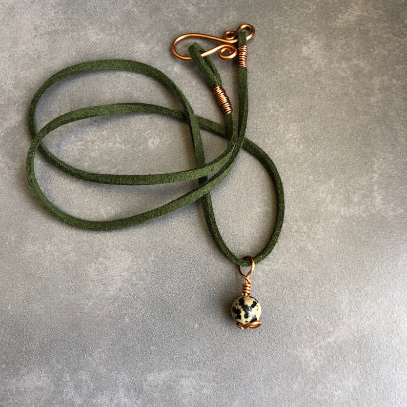 Handmade copper and Dalmatian Jasper Necklace Healing Stone Jewellery
