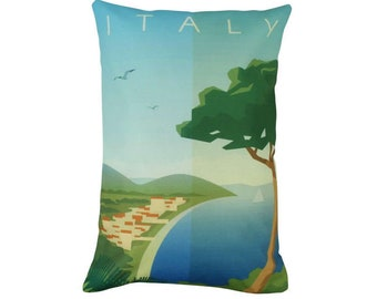 Italy | Adventure Time | Travel | Pillow Cover | Wanderlust | Throw Pillow | Pillow | 12 x 18 Pillow | Adventure Await | Italian Coastline
