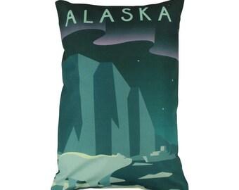 Alaska | Adventure Time | Travel | Pillow Cover | Wanderlust | Throw Pillow | Pillow | 12 x 18 Pillow | Adventure Await | Polar Bears | Gift