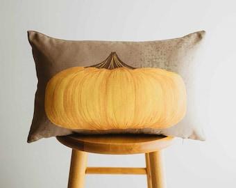 Primitive Flat Fall Pumpkin Lumbar Pillow Cover | 18x12 Thanksgiving Décor | Fall Decor | Room Decor | Decorative Pillows | Gift for her
