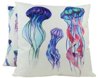 Jelly Fish | Pillow Cover | 18 x 18 | Throw Pillow | Home Decor | Modern Coastal Decor | Nautical Pillow Covers | Jellyfish | Under the Sea