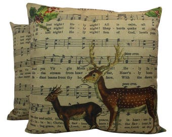 Silent Night | Merry Christmas | Throw Pillow | Christmas Pillow | Home Decor | Christmas Decor | Vintage | Holiday Decor | Retro | 18x18