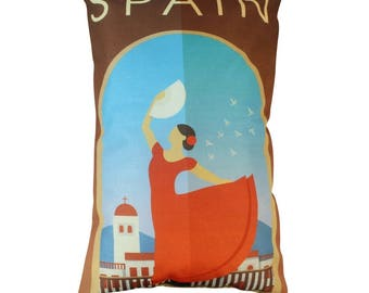 Spain | Adventure Time | Travel | Pillow Cover | Wanderlust | Throw Pillow | Pillow | 12 x 18 Pillow | Adventure Await | Europe Travel