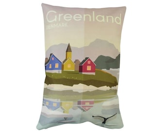 Greenland | Adventure Time | Travel | Pillow Cover | Wanderlust | Throw Pillow | Pillow | 12 x 18 Pillow | Adventure Await | Denmark | Gift