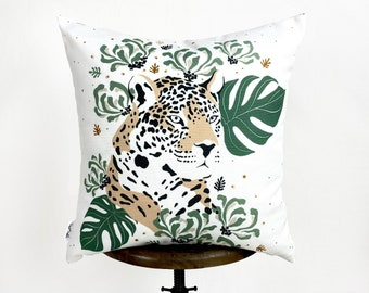 Leopard Face | Leopard Decor | Leopard Print | Leaf | Decorative Pillow | Mom Gift | Home Decor | Room Decor | Bedroom Decor | Throw Pillow