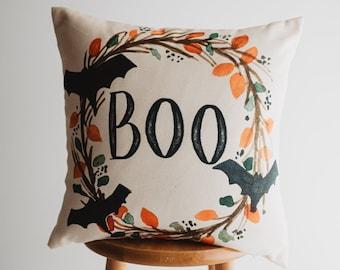 Boo Halloween Wreath Pillow Cover |  Fall decor | Farmhouse Pillows | Country Decor | Fall Throw Pillows | Cute Throw Pillows | Gift for her