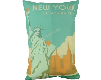 New York | Adventure Time | Travel | Pillow Cover | Wanderlust | Throw Pillow | Pillow | 12 x 18 Pillow | Adventure Await | Manhattan NY