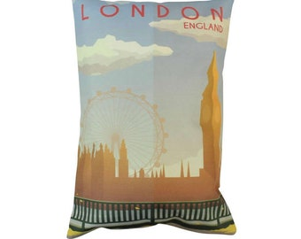 London | Adventure Time | Travel | Pillow Cover | Wanderlust | Throw Pillow | Pillow | 12 x 18 Pillow | Adventure Await | England | Europe