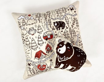 Embroidery | Camping Pillow | Embroidery Art | 14x14 Pillow | Custom Embroidery Designs | Baby Embroidery Designs | Throw Pillow | Gift