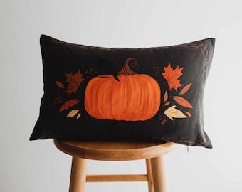 Primitive Dark Fall Pumpkin Lumbar Pillow Cover | 18x12 Thanksgiving Décor | Fall Decor | Room Decor | Decorative Pillows | Gift for her