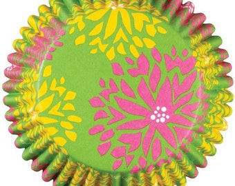 Floral Green ColorCups Wilton Greaseproof Cupcake Liners Baking Cups Muffin Cups - Green Cupcake Liners