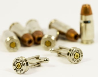 Winchester 357 Sig Bullet Cufflinks Cuff Links Made w/ Real Bullet Shell Casings Steam Punk Victorian Military Wedding Jewelry