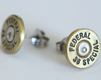 Bullet Earrings Federal 38 Special Brass Studs made w/ Real BULLETS CASINGS Steampunk Victorian Jewelry Studs Surgical Steel Posts