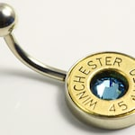 Bullet Belly Button Ring / Gun Jewelry / Bullet Jewelry / Dangle Belly Button Ring / Belly Bar / Navel Ring / Piercing Jewelry / Belly Rings