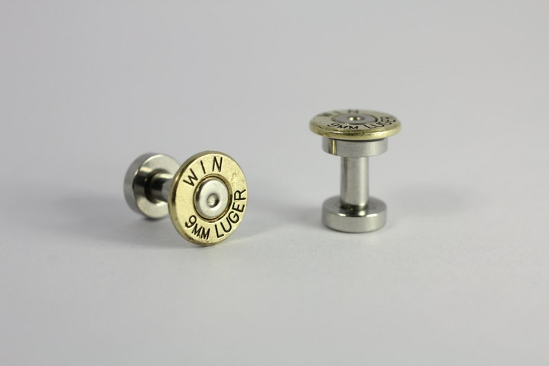 8 Ga 3mm Winchester 9mm Luger Bullet Ear Plug 8 Gauge 3mm Inch Guage  Earring Plugs Steam Punk Cartridge Plugs Ear rings 1911 Brass