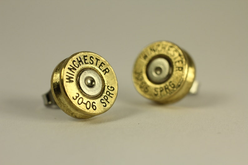 Winchester 30-06 M1 Garand Brass Bullet Earrings Studs made w/ BULLETS  CASINGS Steampunk Victorian Jewelry Studs Surgical Steel Posts