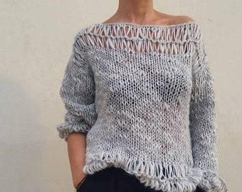 Jersey crema jersey de lana tejido a mano tendencia  ff3c776c624c