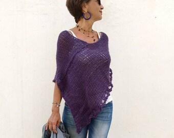 Purple knit poncho, poncho sweater, wool poncho, loose knitting, knitwear trend, sweater knit wrap, women knitwear, spring knitwear trends