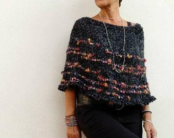 Black knit poncho, women poncho, women best gifts, alpaca knit wrap, wool poncho, OOAK, gift for her, fall sweater,