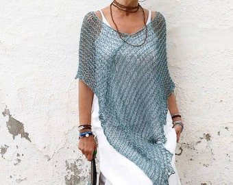 Summer coverup poncho,  women summer poncho, blue summer, wedding dress cover, summer dress cover, light sweater poncho