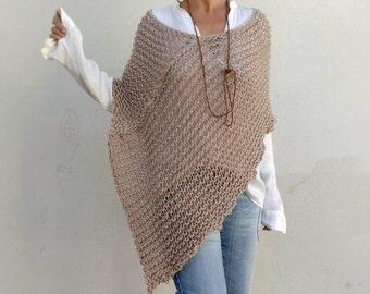 Knit wool poncho, women poncho, loose knit poncho, poncho trends,  poncho sweater, knitwear, shawls and wraps
