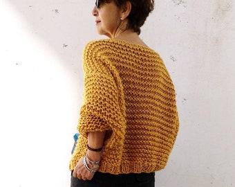 20537254cc0 Chunky mustard sweater for women