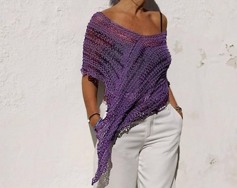 Cotton poncho, purple cotton poncho, violet knit shawl, party dress cover, valentine's gift, lilac knit wrap, shrugs for dresses