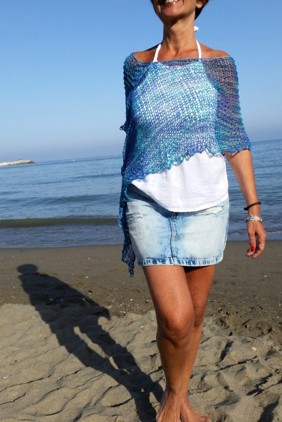 Poncho Aus Baumwolle Der Sommer Blau Poncho Baumwolle Etsy