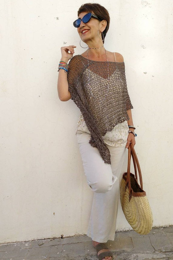 Summer poncho for women, boho chic style dress coverup, vegan chic women top, summer dress coverup, hand knit poncho for summmer.