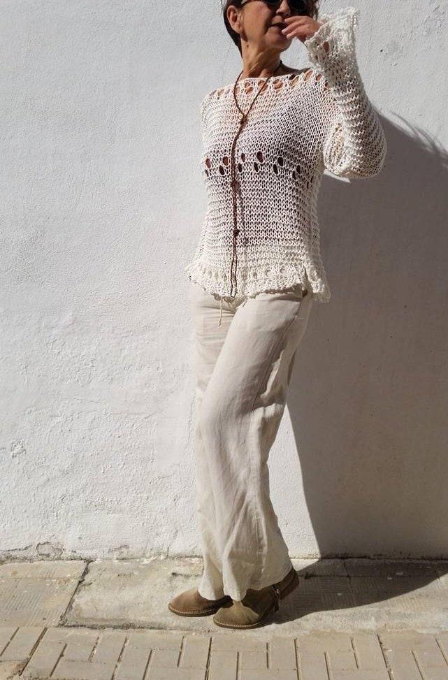 Jersey crema para mujer suéter de punto tejido a mano  a33d7424e9ac