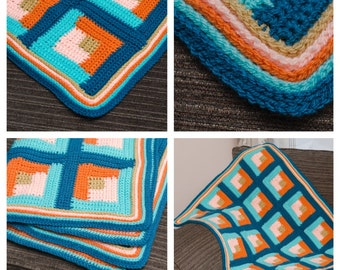 Log Cabin Small Crochet Blanket PDF pattern