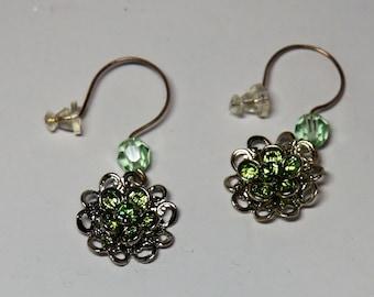 Swarovski Peridot Crystal and SP Flower Drop Earrings