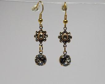 Clear Swarovski and GP Flower Long Drop Women's Statement Earrings