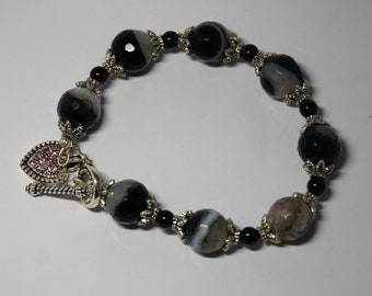 Black Banded Onyx and Swarovski Pearl SP Bracelet with Heart Clasp