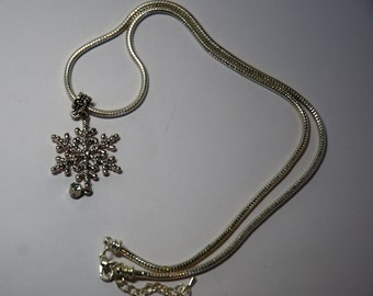Swarovski Clear Crystal Snowflake and SP Snake Chain