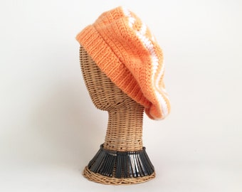 a2e8b51f199 70s Hat Knit Tam Slouchy Hat Orange and White Knit Hat Vintage Winter Hat  70s Tam 70s Beanie Vintage Tam Vintage 70s Hat Orange Knit Hat