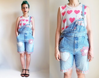 b7ae1683a7ea 90s Clothing Denim Overalls Light Wash Overalls Shortalls Short Overalls  Patchwork Overalls 90s Clothing 90s Gap Vintage Gap Size S  M