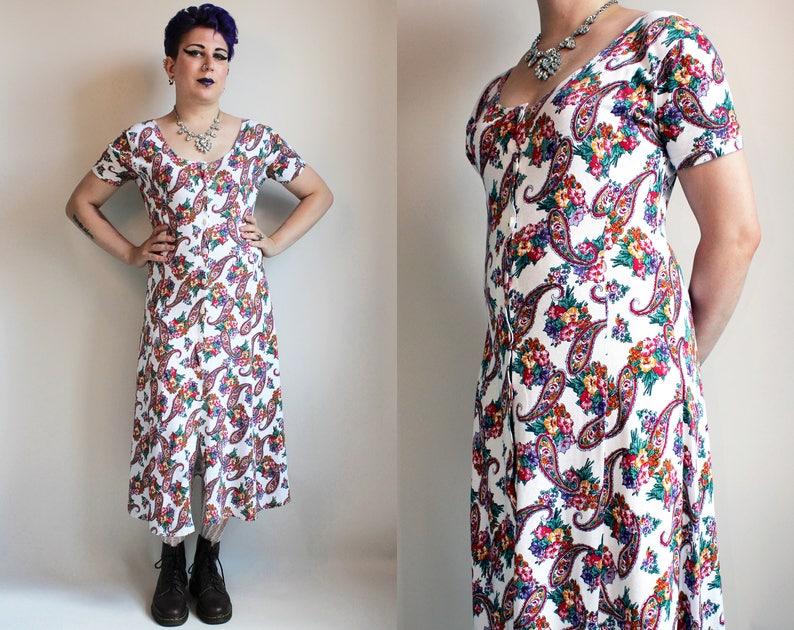 6e1e87160a2 90s Clothing Vintage Dress 90s Dress White Floral Dress Midi