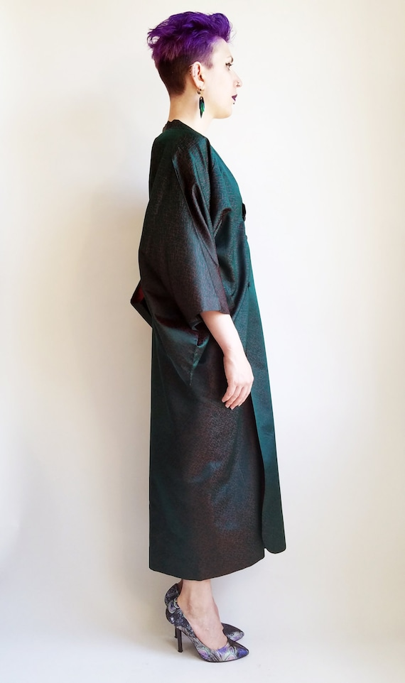 Emerald Green Two Tone Robe Fabric Japanese Green Red Long Kimono Kimono Green Kimono Vintage Vintage Kimono q8wdEq