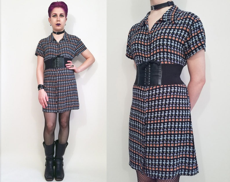 90s Clothing Floral Dress Vintage 90s Dress 90s Grunge Dress Riotgrrl Mini  Dress Black Floral Print Button Up Dress ... c737955e3