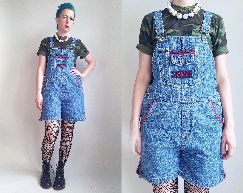 845ca7c5a506 90s Clothing Denim Overalls Medium Wash Overalls Shortalls