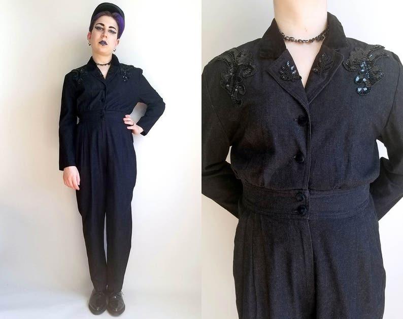 7124cde7ed3d 80s Clothing Black Denim Jumpsuit Vintage 80s Onepiece Black