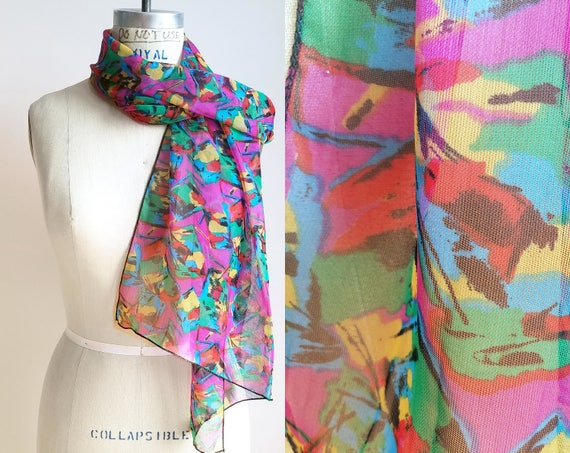 90s Vintage Scarf Rainbow Scarf Fall Accessories V