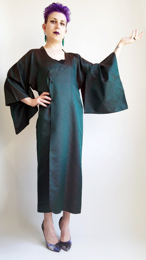 Emerald Kimono Vintage Vintage Kimono Kimono Two Robe Tone Green Green Kimono Long Red Green Fabric Japanese 5rra4qxE